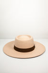 Suede Flat Brim Hat with Brown Trim - Beige