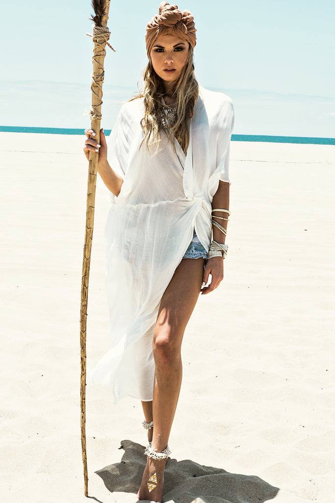 Sanah Wrap Cover Up - White