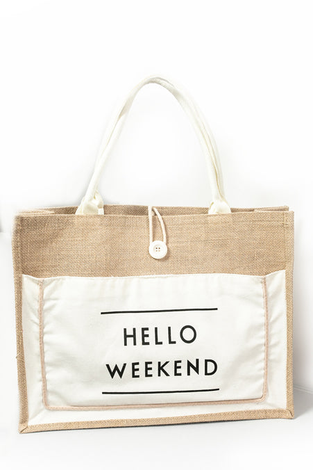 Hello Weekend  Bag- Natural