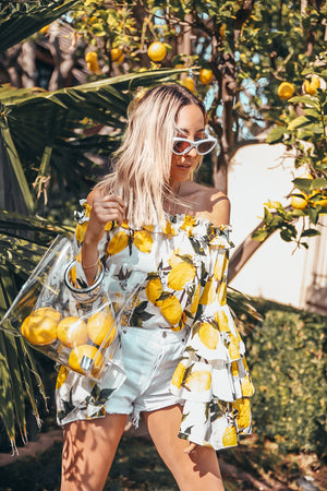Lemon Print Top with Ruffle Sleeve