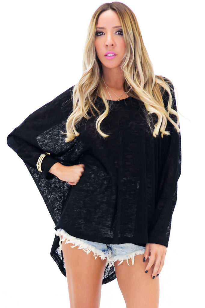 RAND DOLMAN SLEEVE HEATHER TEE - Black