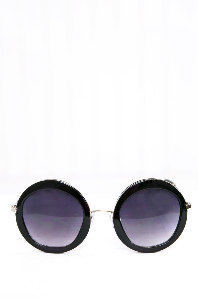 Gia Circle Shades - Black/Silver