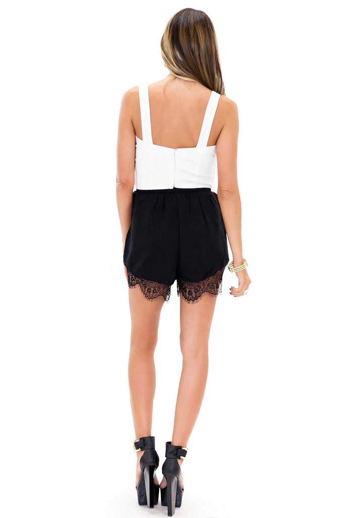 LILIANNE LACE TRIM SHORTS - Black