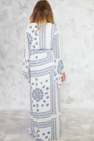 Nirvana State Bell-Sleeve Maxi Dress - Haute & Rebellious