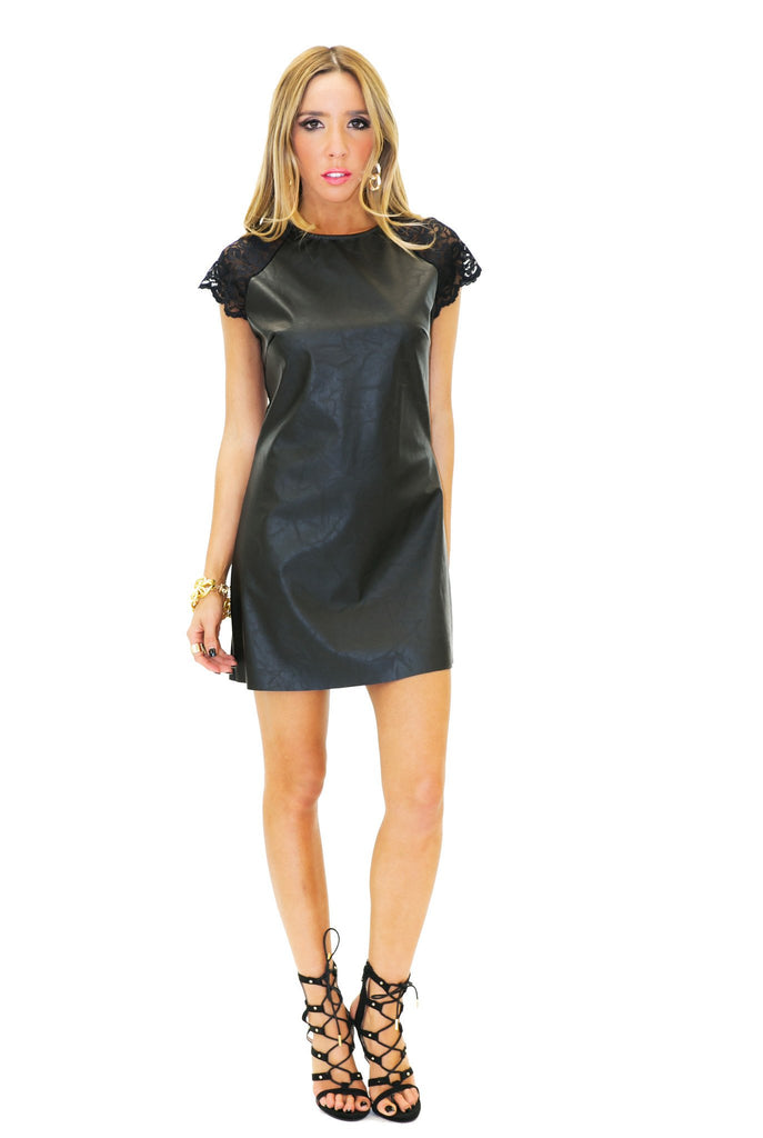 HUNTER VEGAN LEATHER LACE CONTRAST DRESS