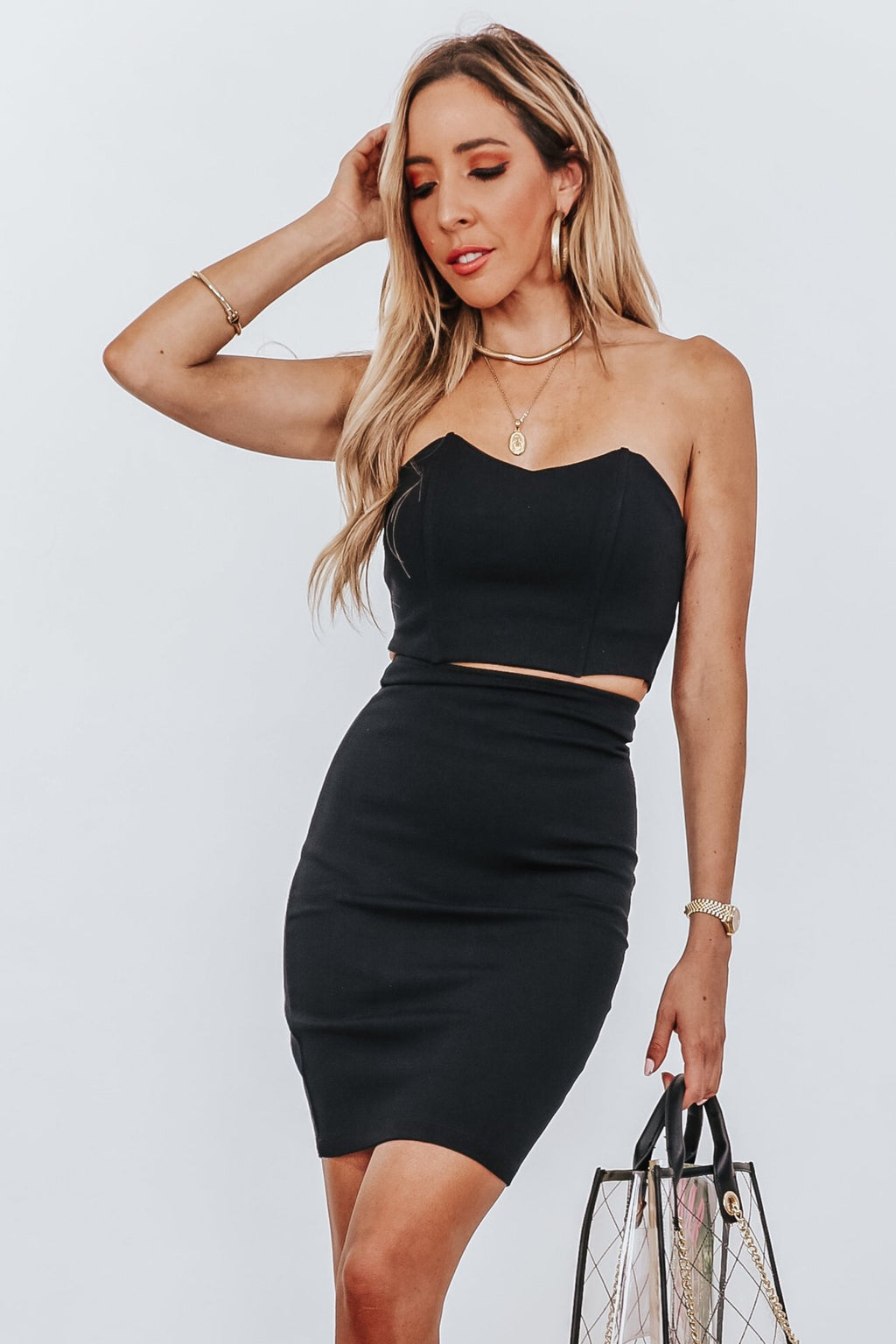 Crop Top with Curved Neckline - Black