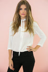 The Neck Tie Blouse - White - Haute & Rebellious