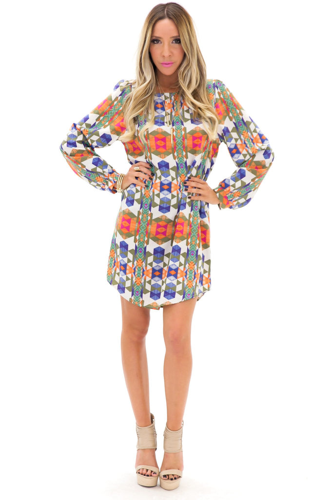 MIDORI TEXTILE PRINT SHIFT DRESS