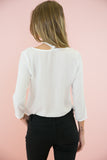 The Neck Tie Blouse - White