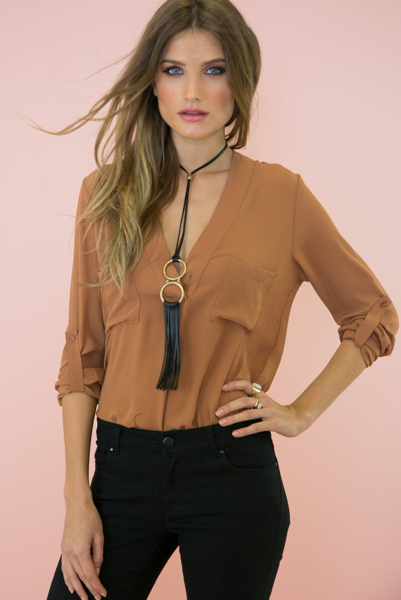 Shay Deep-V Chiffon Blouse - Terracotta /// Only 1-M Left /// - Haute & Rebellious