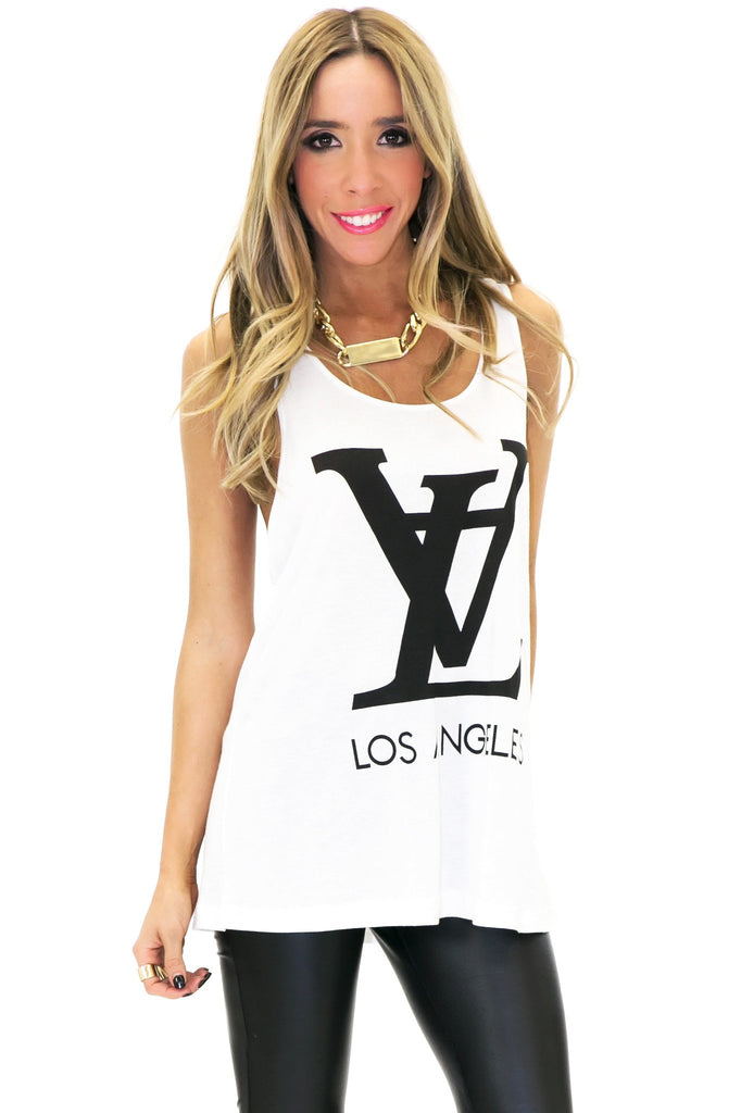 LV LOS ANGELES VINTAGE TANK - White