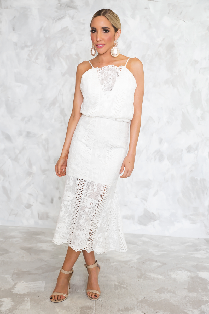 Open Back Lace Midi Dress - White - Haute & Rebellious