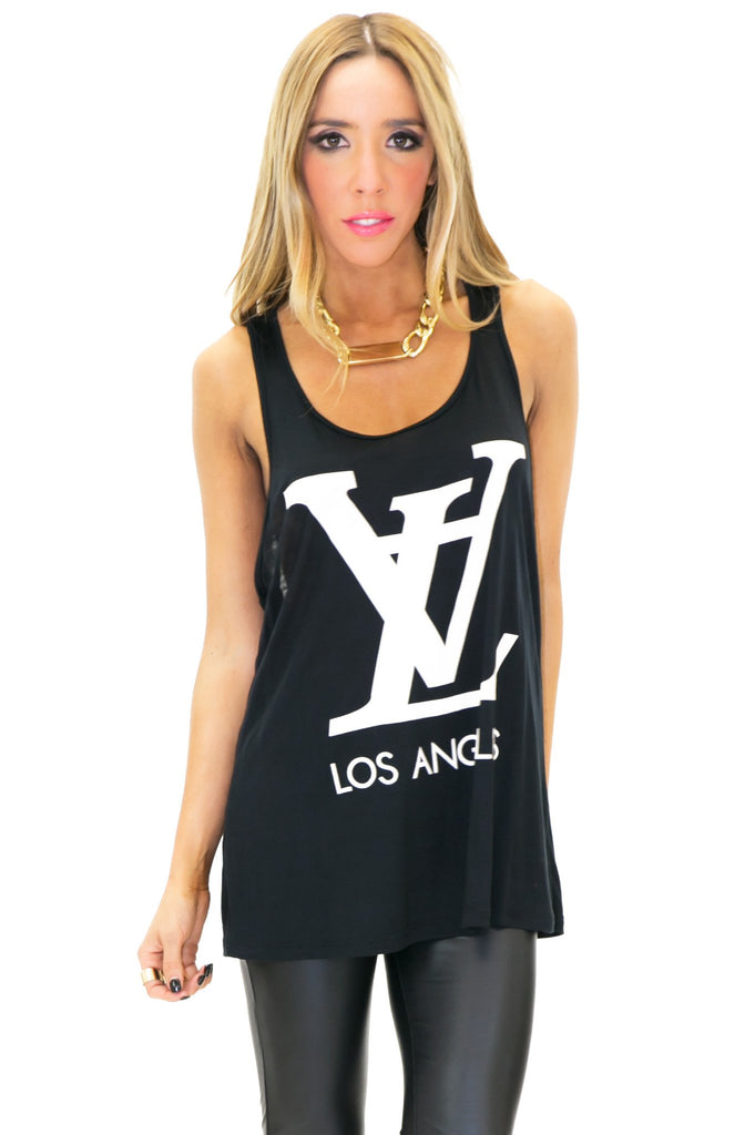 LV LOS ANGELES VINTAGE TANK - Black - Haute & Rebellious
