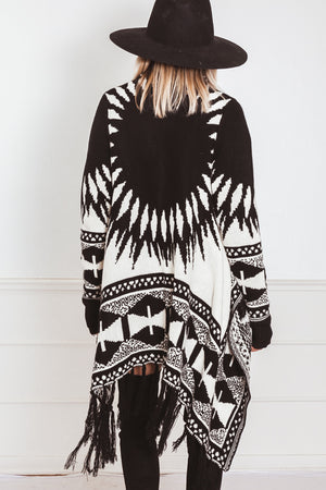 Cardigan Sweater with Fringe