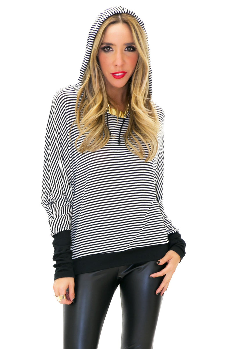 BLAINE STRIPED HOODED SWEATSHIRT TOP - Haute & Rebellious