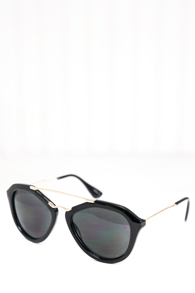 Janice Aviator Shades - Black/Gold