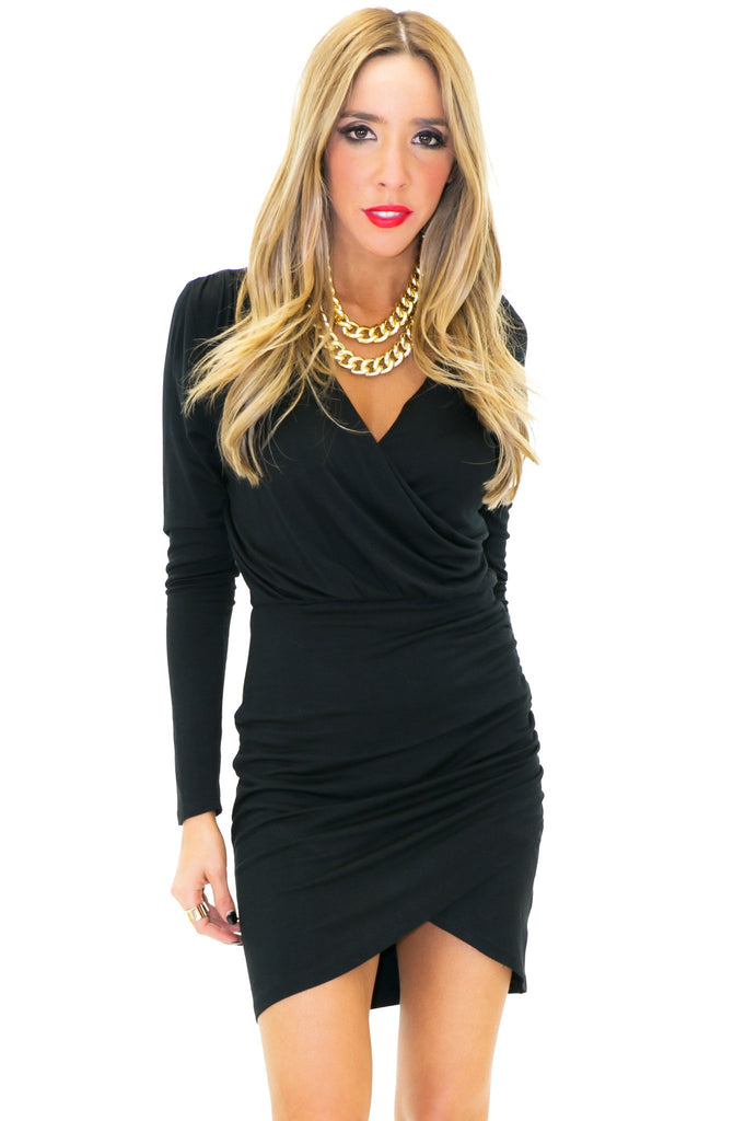 JANE DRAPED DRESS - Black