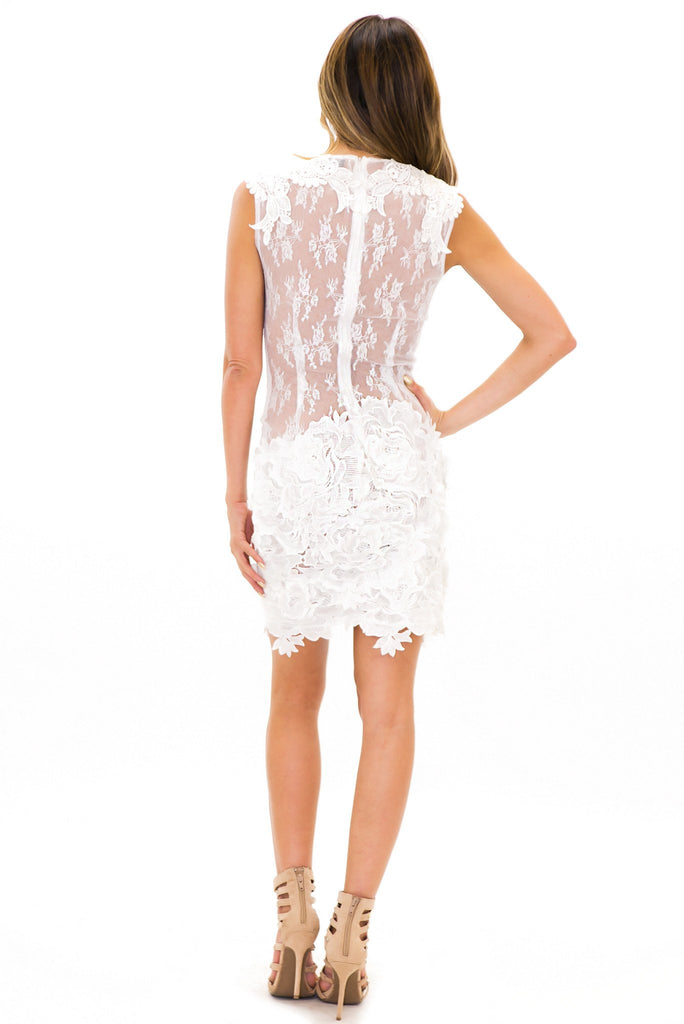 ISSA EMBROIDERED CONTRAST LACE DRESS - Ivory