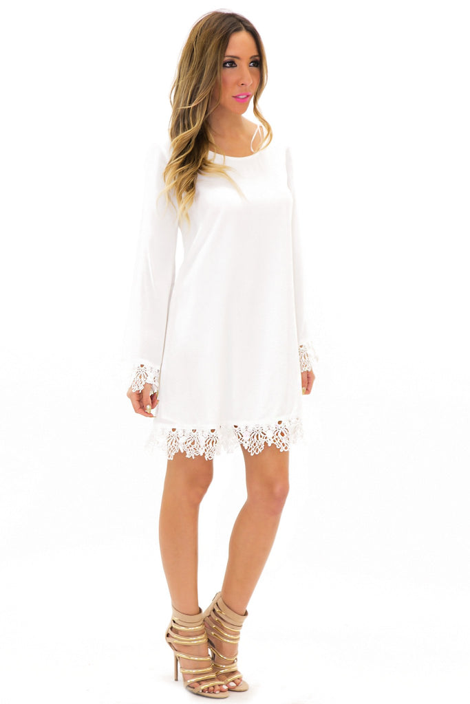 ELA CONTRAST LACE BELL SLEEVE DRESS - Haute & Rebellious