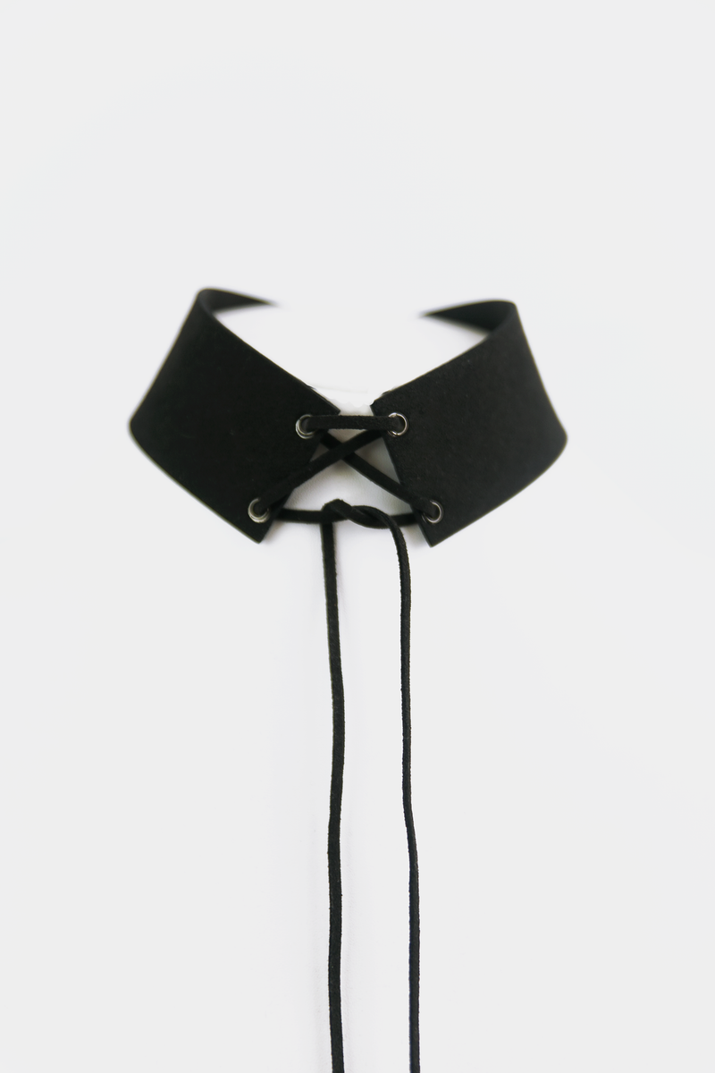 Lace Me Up Suede Choker - Haute & Rebellious