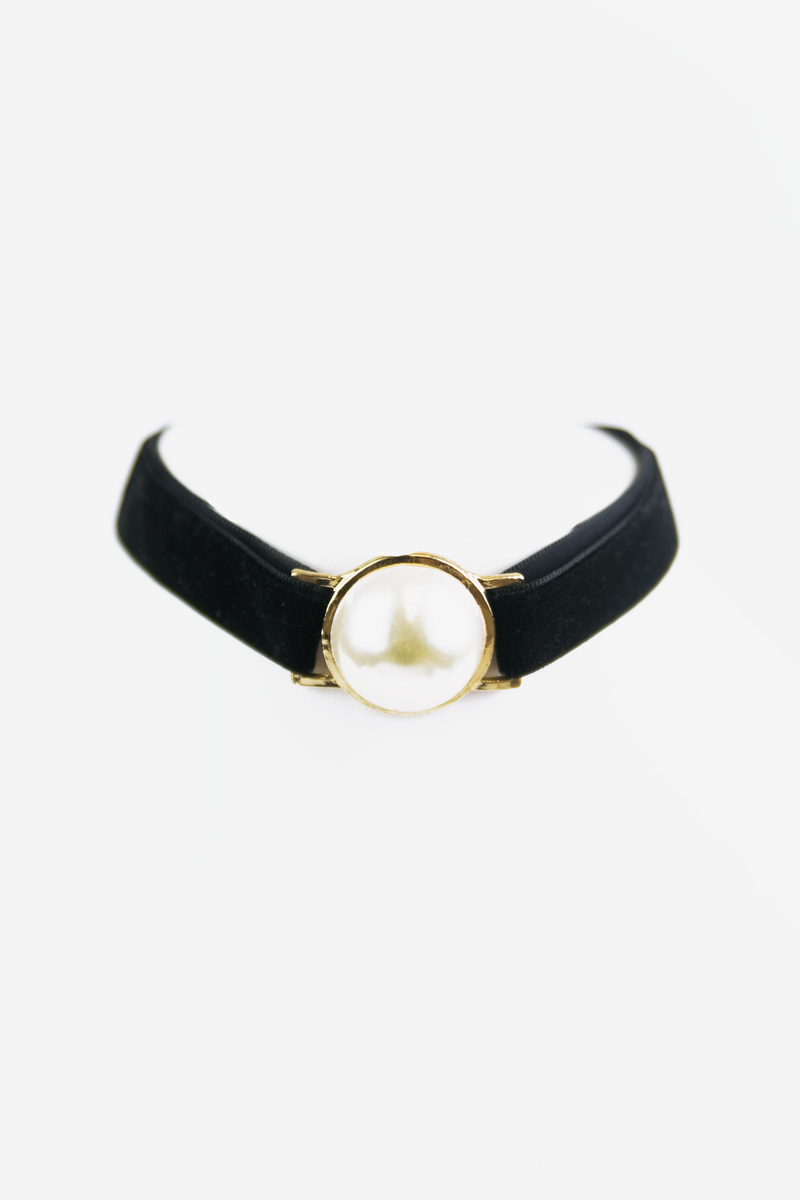 Mother of Pearl Velvet Choker - Haute & Rebellious
