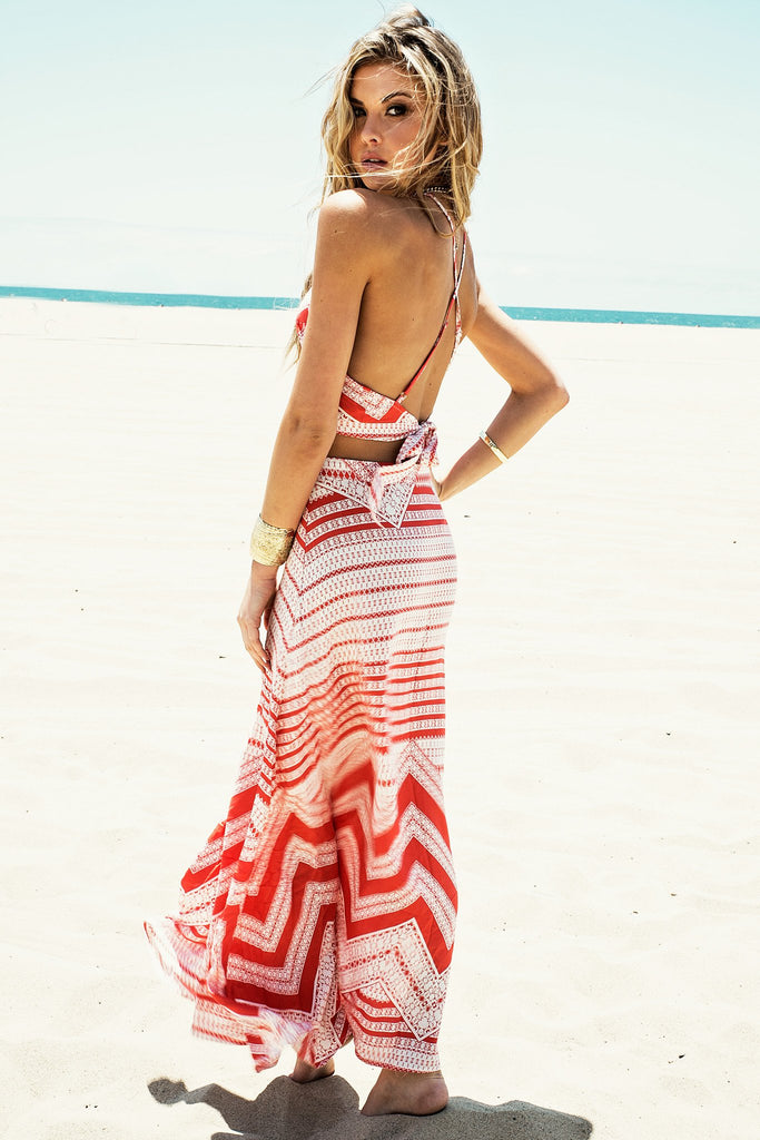 Malana Tribal Maxi Skirt - Coral