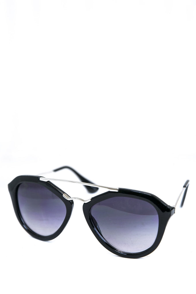 Janice Aviator Shades - Black/Silver