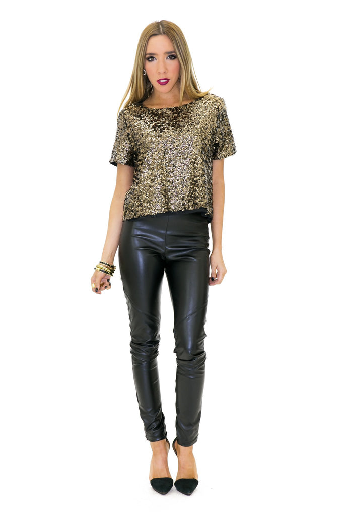BAYLOR SEQUIN TOP - Gold