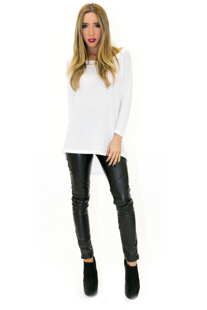 THERMAL KNIT LONG SLEEVE TOP - White - Haute & Rebellious