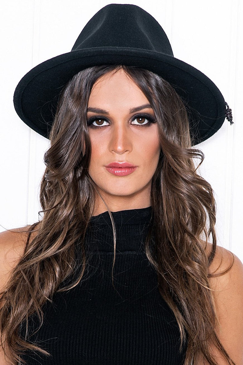 Aly Braided Tassle Hat - Black - Haute & Rebellious