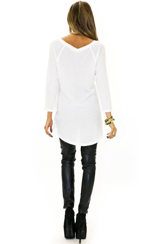 THERMAL KNIT LONG SLEEVE TOP - White