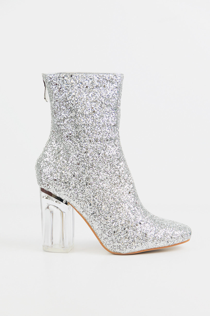 Glitter Ankle Booties with Clear Heel