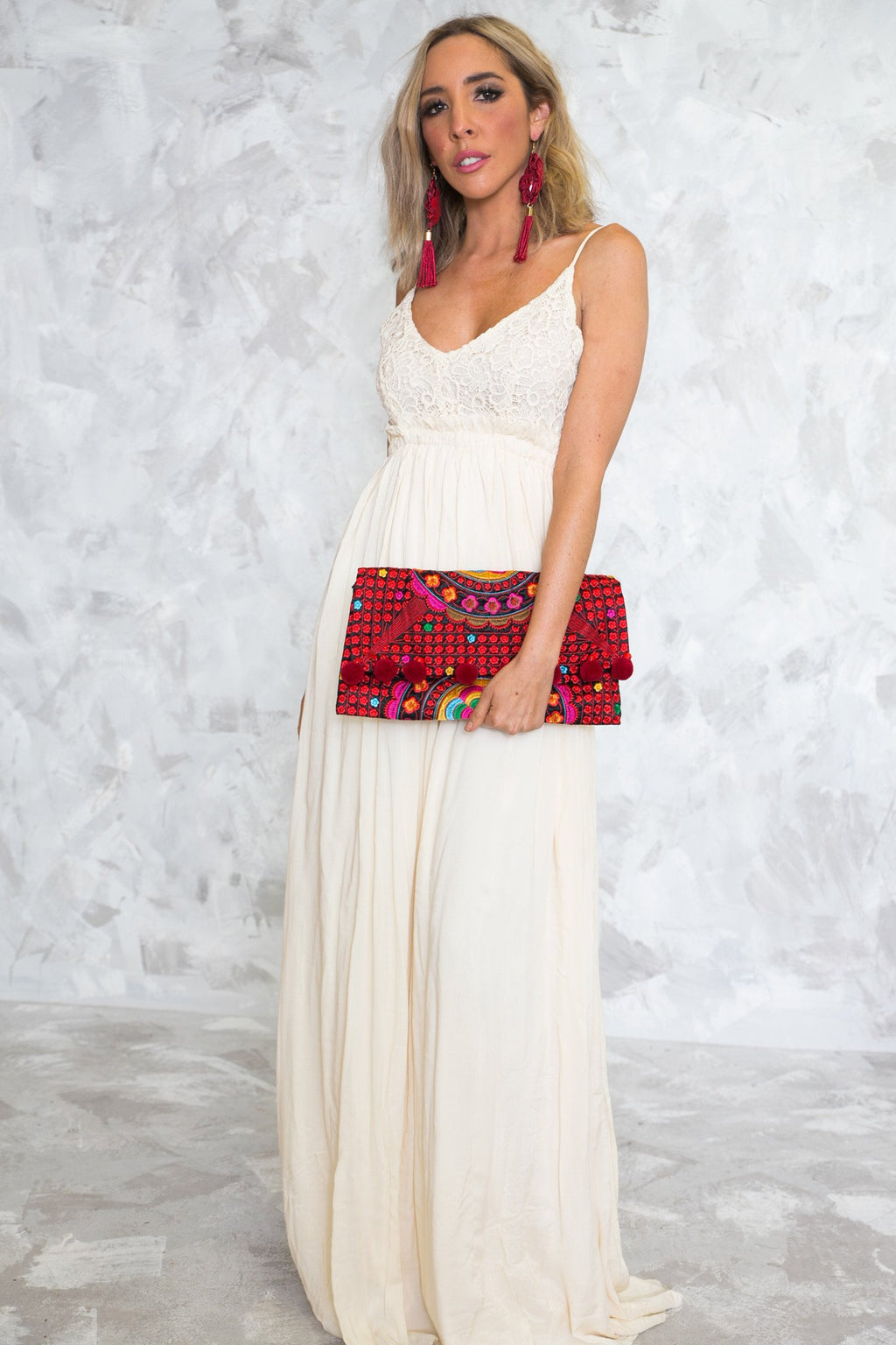 Camilla Open Back Crochet Maxi - Cream - Haute & Rebellious