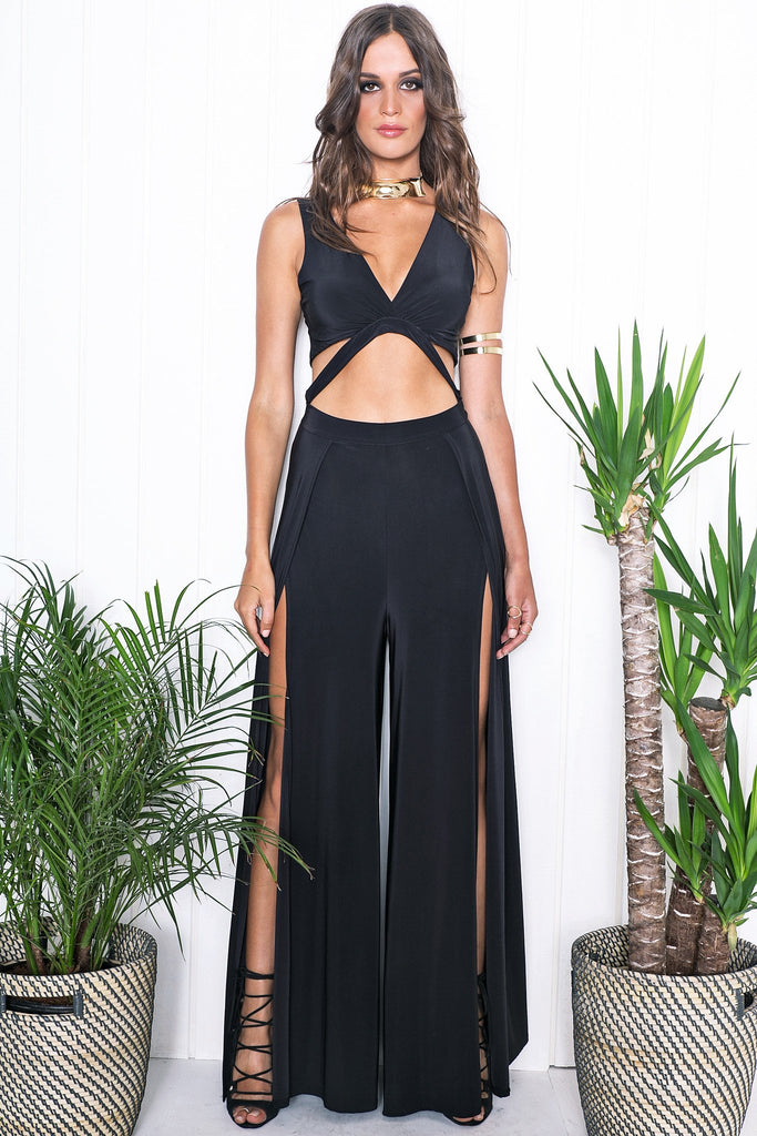 Kiah High-Slit Jumpsuit - Black