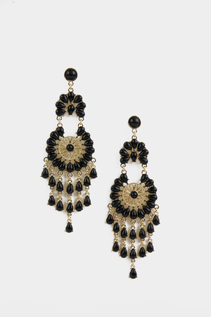 Black Stone Long Dangling Earring - Haute & Rebellious