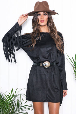 Dana Suede Fringe Sleeve Dress - Haute & Rebellious
