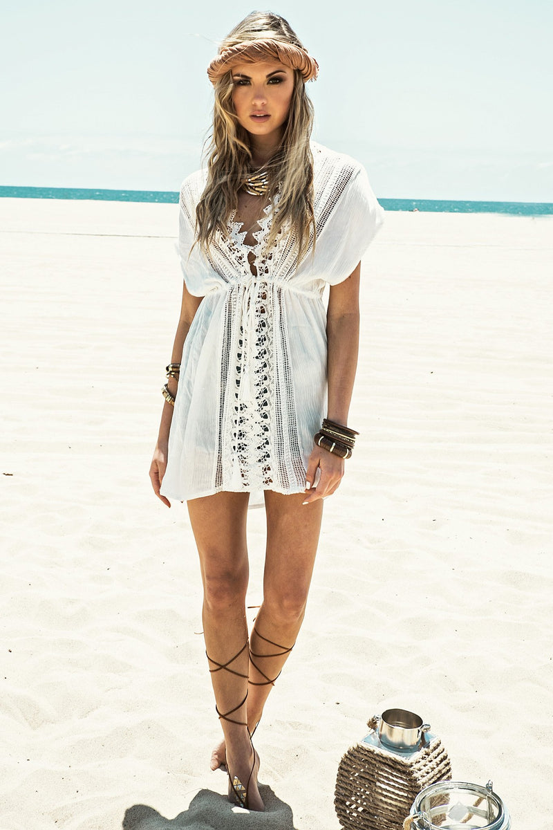 Kara Crochet Trim Cover-Up - Haute & Rebellious