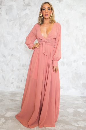 Wrap Flowy Deep-V Maxi Dress - Blush - Haute & Rebellious