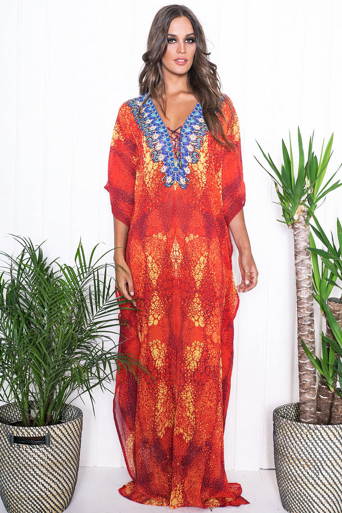 Malia Embellished Kaftan - Red - Haute & Rebellious