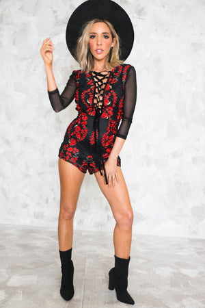 Roses Embroidery Lace-Up Romper - Haute & Rebellious