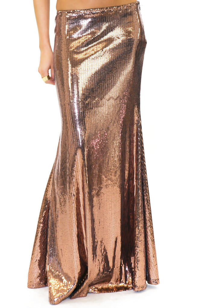 HARPER SEQUIN LONG SKIRT - Gold Rose