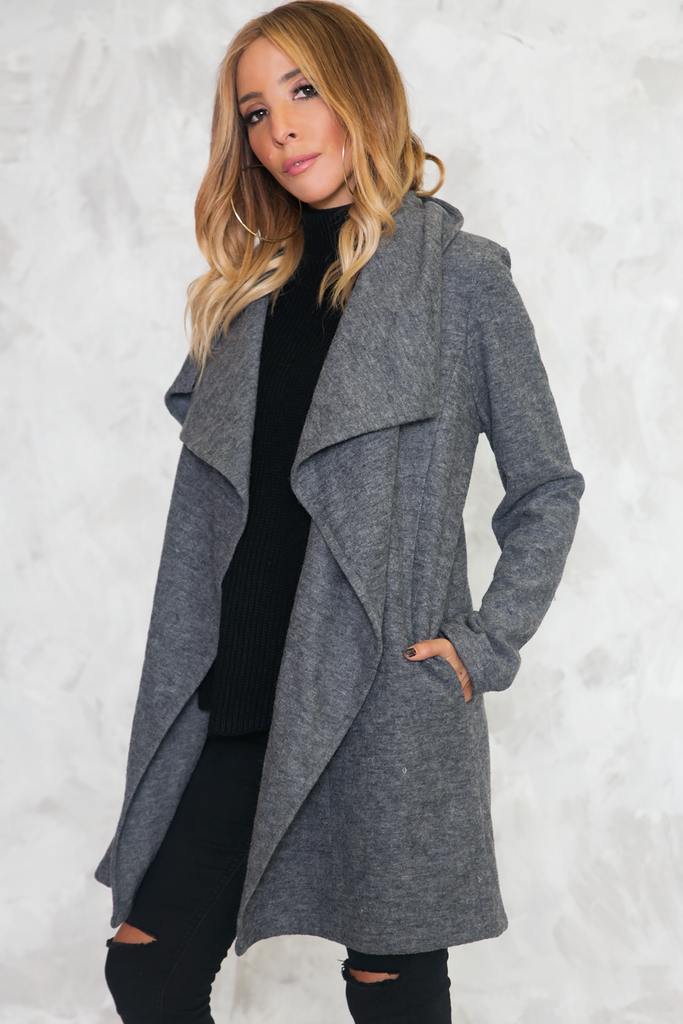 Urban Nomad Drape Collar Coat - Grey