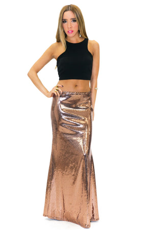 HARPER SEQUIN LONG SKIRT - Gold Rose - Haute & Rebellious