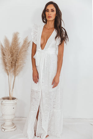 Deep V Eyelet Long Dress