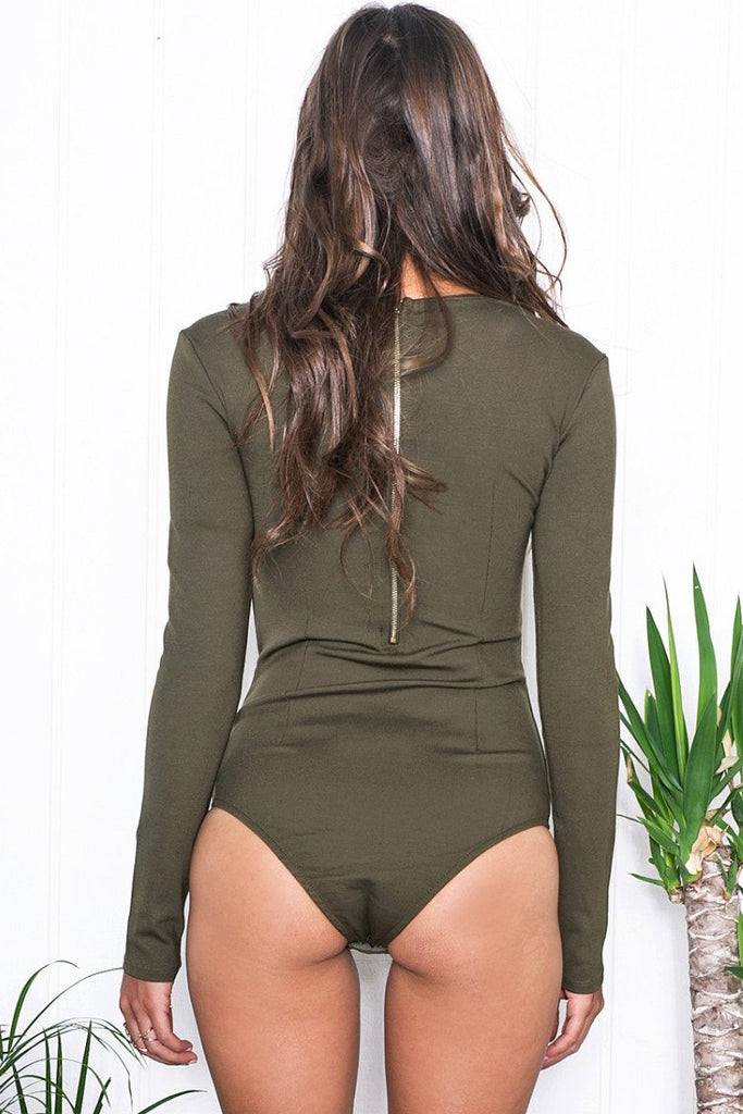 Aniya Lace-Up Bodysuit - Olive