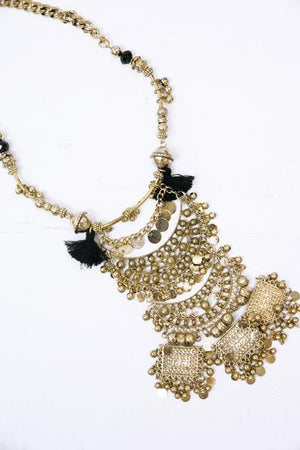 Lara Gold Metal & Fringe Necklace - Haute & Rebellious