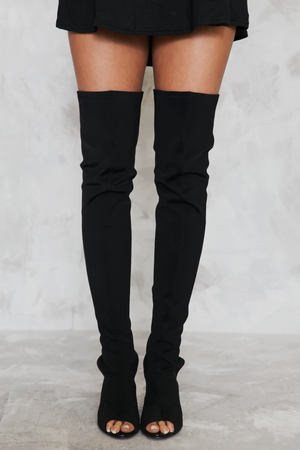 Open Toe Thigh High Boots - Black - Haute & Rebellious