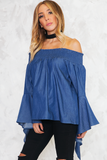 I Can Be There Off-the-Shoulder Top - Dark Blue - Haute & Rebellious