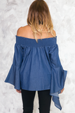 I Can Be There Off-the-Shoulder Top - Dark Blue
