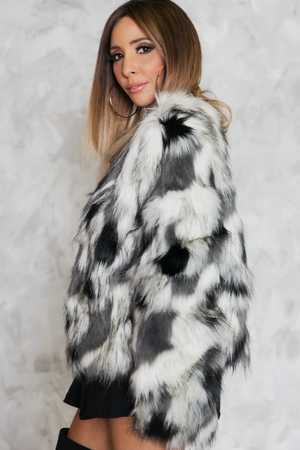 Lone Wolf Faux Fur Jacket - Haute & Rebellious